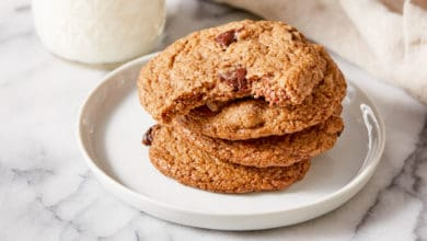oat pulp cookies stacked on white plate