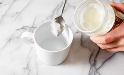 greasing mug with coconut oil