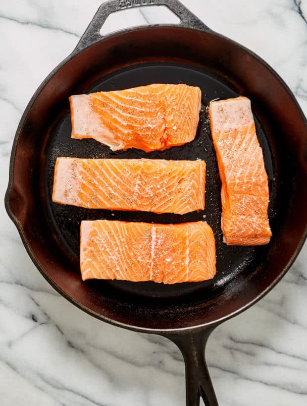 salmon in cast iron skillet