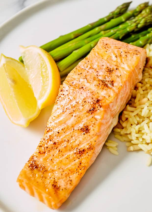 cast iron salmon with rice and asparagus