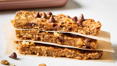 banana oatmeal bars stacked