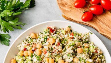Easy Cauliflower Salad with fresh veggies and herbs