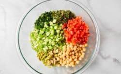 cauliflower salad ingredients in bowl