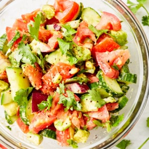 tomato cucumber avocado alad