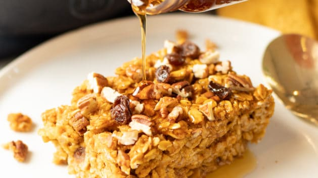 pumpkin baked oatmeal drizzled with maple syrup