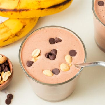 smoothie topped with chocolate chips and peanuts
