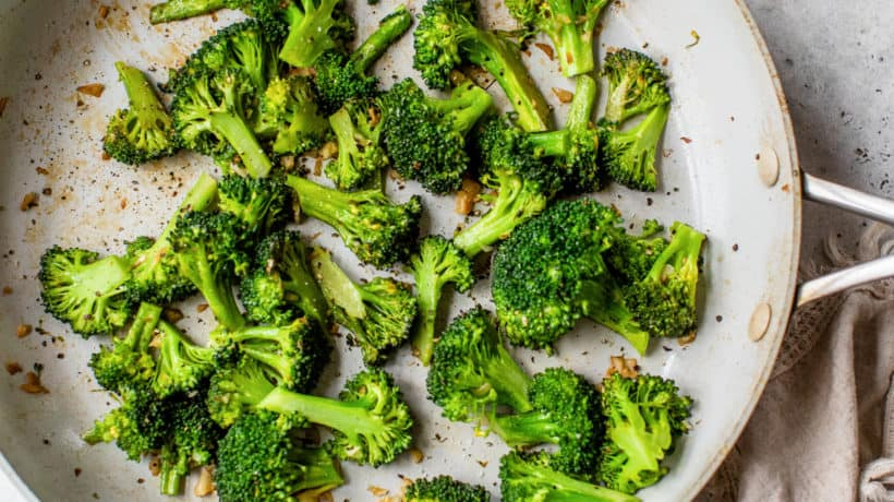broccoli with garlic in saute pan