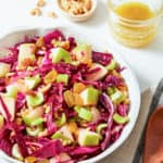red cabbage salad with green apples and raisins
