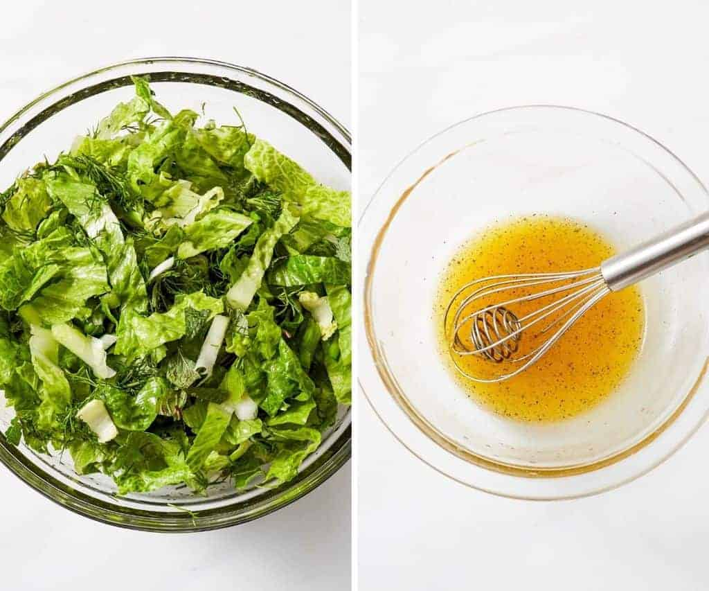 making a romaine salad with lemon vinaigrette