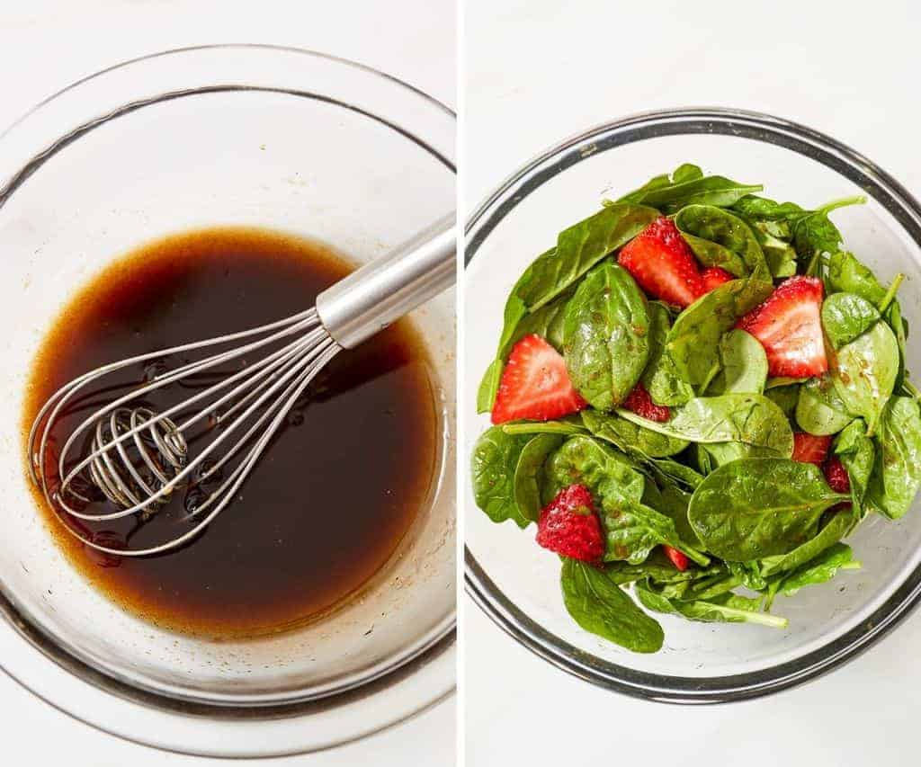 making a strawberry spinach salad and the dressing