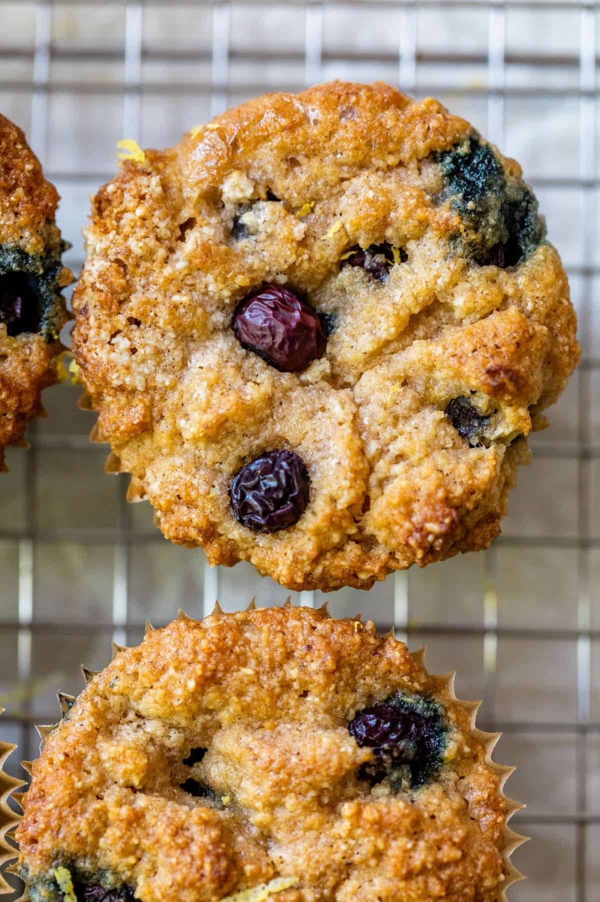 keto blueberry muffins cooling on a wire rack