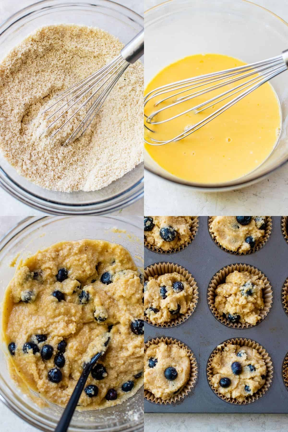 showing how to make keto blueberry muffins