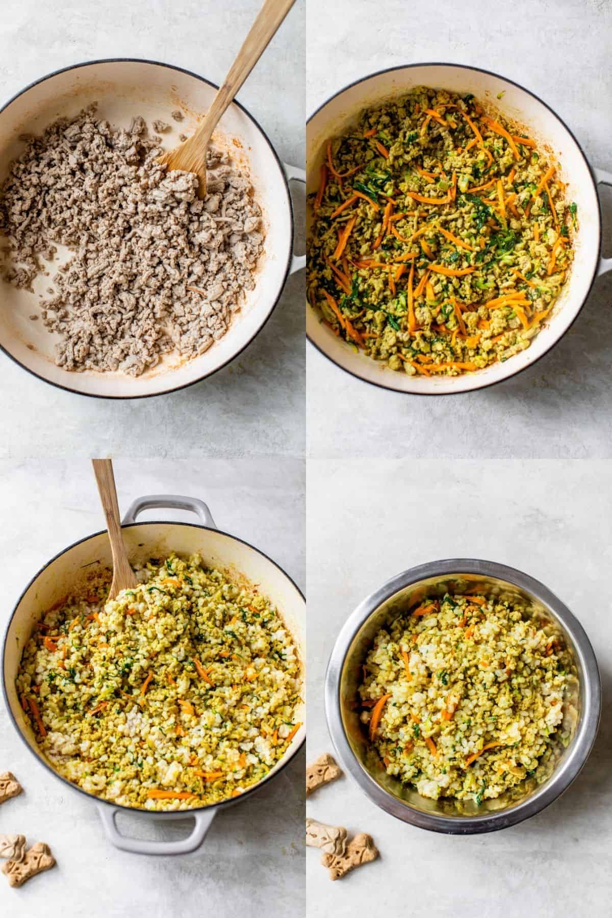 visual steps showing how to make homemade dog food with ground turkey
