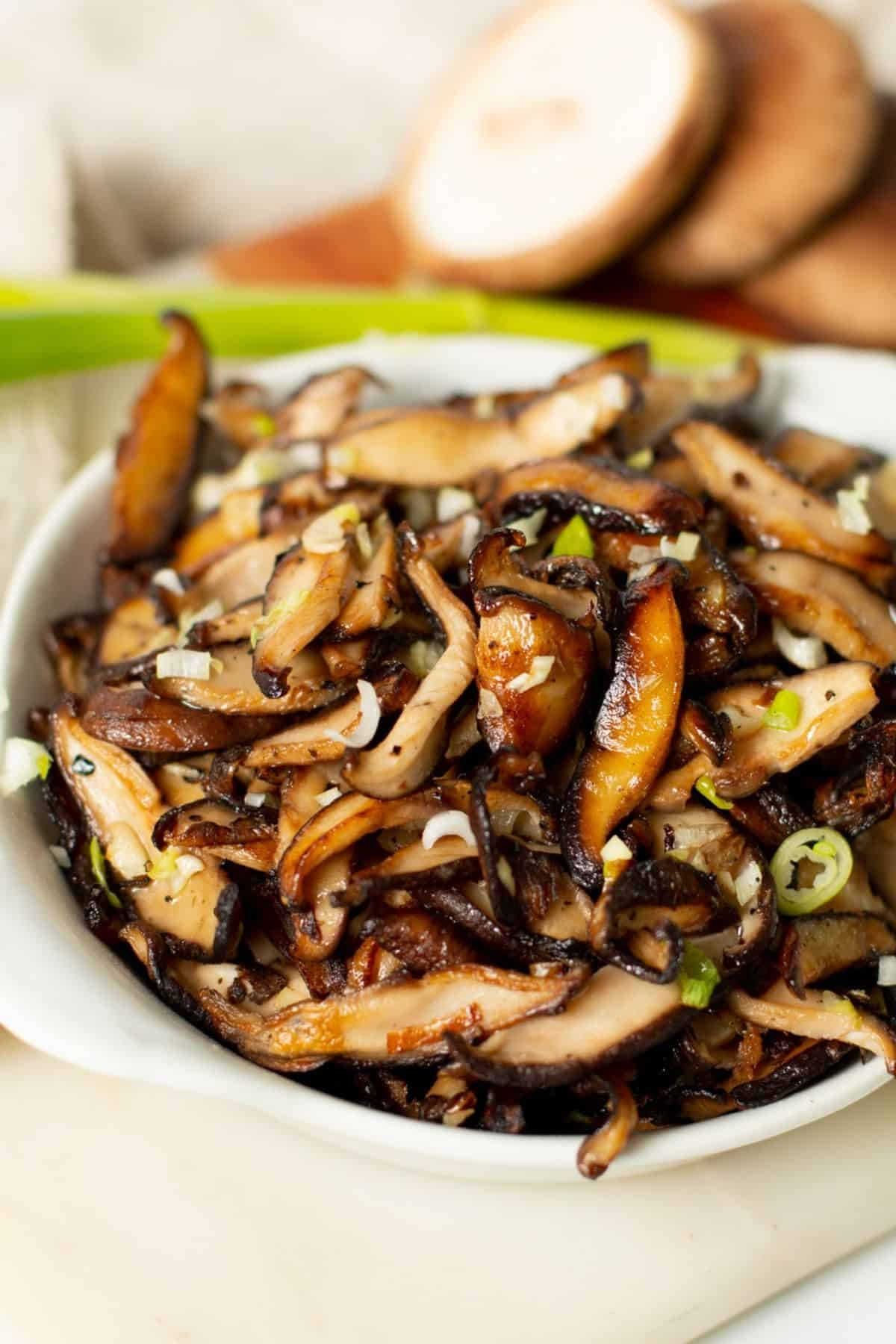shiitake mushrooms recipe in a small white bowl