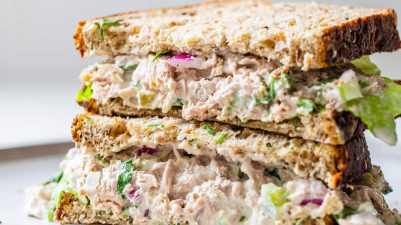 tuna salad on whole grain bread