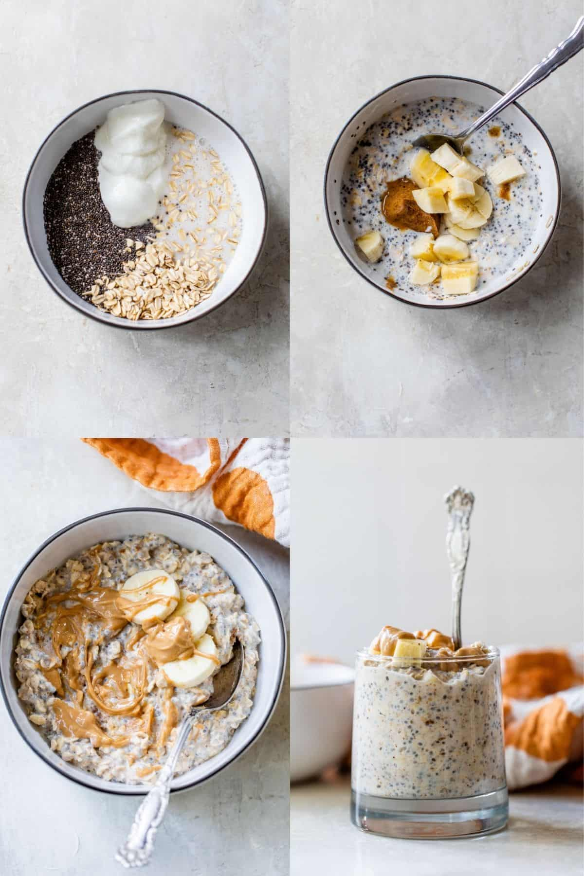 showing how to mix ingredients to make peanut butter banana overnight oats
