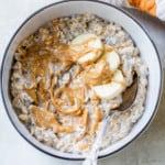 peanut butter banana overnight oats in a bowl